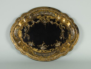 Black and gold decorated tray