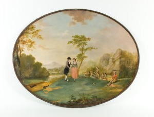 Decorated oval tray painted with a scene from 'Tristram Shandy'.