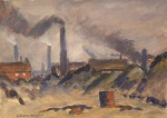 Gouache drawing of factory chimneys pouring out black smoke.