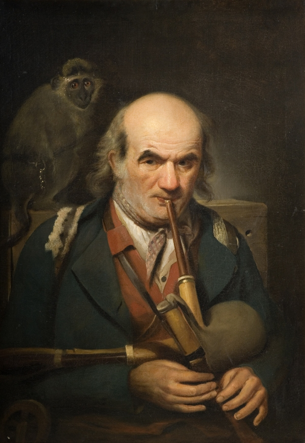 Painting of a man playing the bagpipes. A monkey sits on his shoulder.