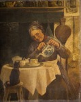 Old woman pouring tea whilst a small black cat looks on